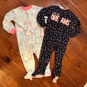 5/$25, 2 girls fleece footed pajamas, size 2T